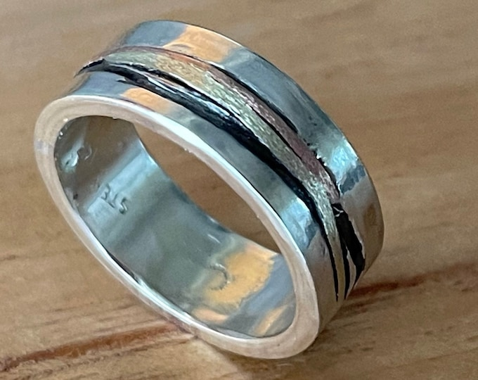 Mens Wedding Band 8mm Rose Gold and Sterling Silver