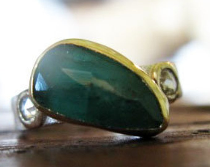 Size 6 Emerald Ring Sterling Silver 18K Gold Bezel