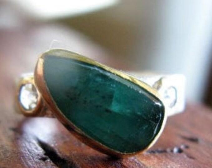 Size 6 Emerald Ring Sterling Silver 18K Gold Bezel