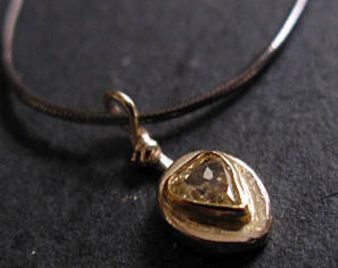 Tiny Yellow Diamond Pendant 18K Gold Necklace