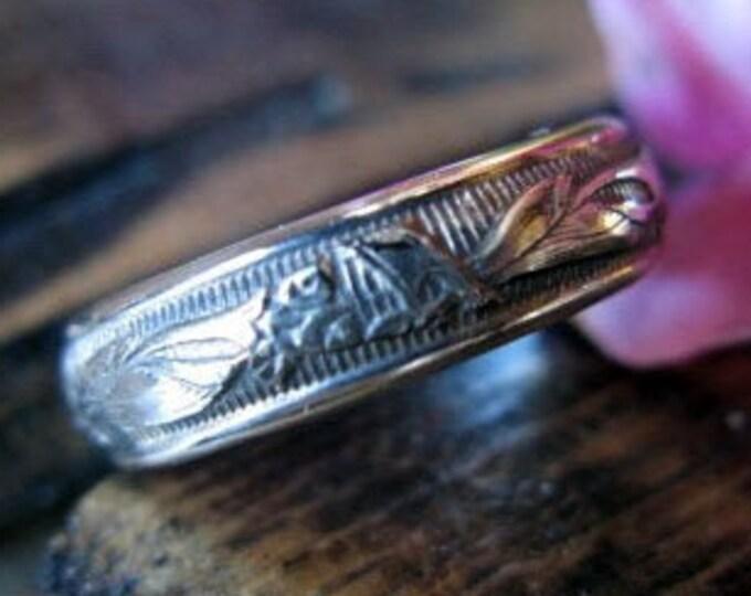 Vintage Wedding Band Unique Antique Design 4.7mm Carved Solid Sterling Silver