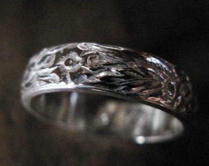 Vintage Wedding Band 5mm Sterling Silver Antique Design Carved Flowers