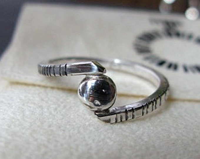 Alternative Engagement Ring - Wraparound Silver Ring with Fine Silver Disc