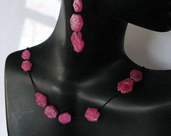 Rough Ruby Bead Necklace 14k Gold S Clasp 16 Inches