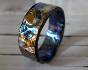 Mens Wedding Band 9.5mm Mens Wedding Ring Viking Wedding Ring Unique Mens Wedding Band Oxidized Mens Wedding Rings Mens Wedding Bands Gold