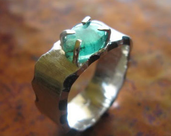 Size 7 Emerald Ring Raw Emerald Rough Emerald Slice Ring Genuine Emerald Handmade Wedding Handmade Engagement