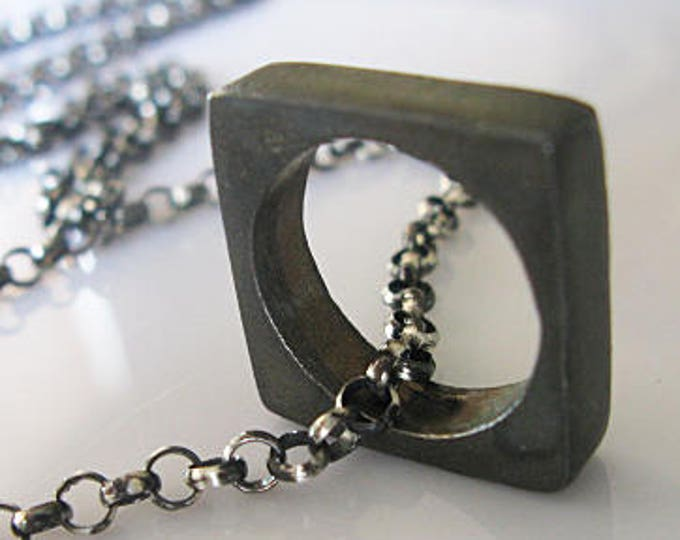 Sterling Silver Black Chain Pendant 30 Inch Necklace