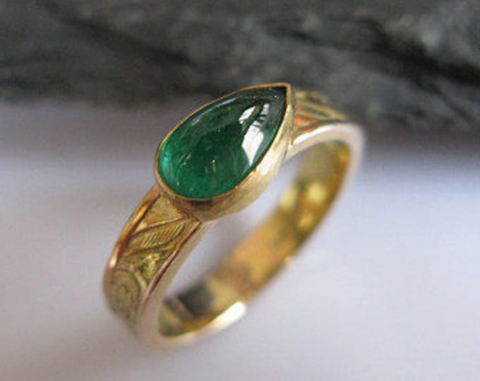 SALE Natural Emerald Ring 14K 18K Gold Size 6.75