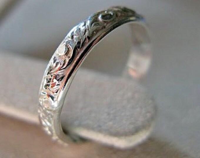 Sterling Silver Vintage Wedding Band 3.5mm