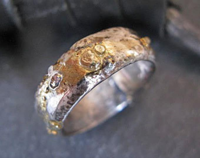 Molten Moon Ring 8mm Fine Silver 18K Yellow Gold