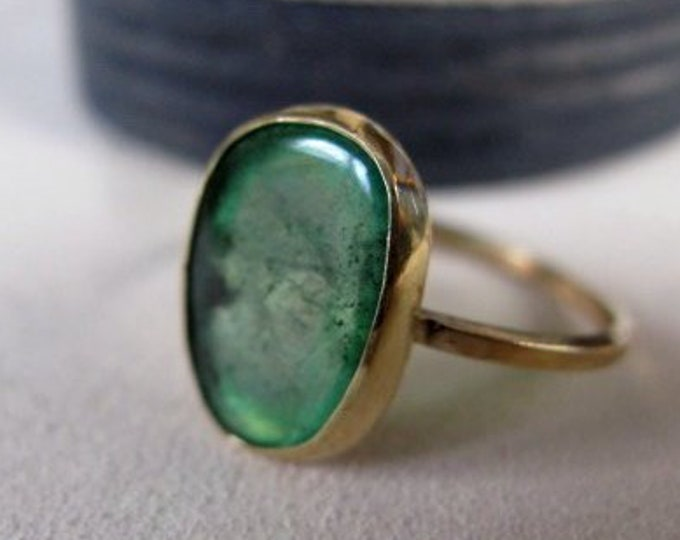 Size 7 Emerald Ring 18K Gold
