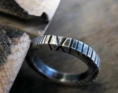 Hand Carved Silver Ring Mens Ring Mens Wedding Band Southwestern Unique Handmade Mens Wedding Ring 3mm Native American Style Rustic
