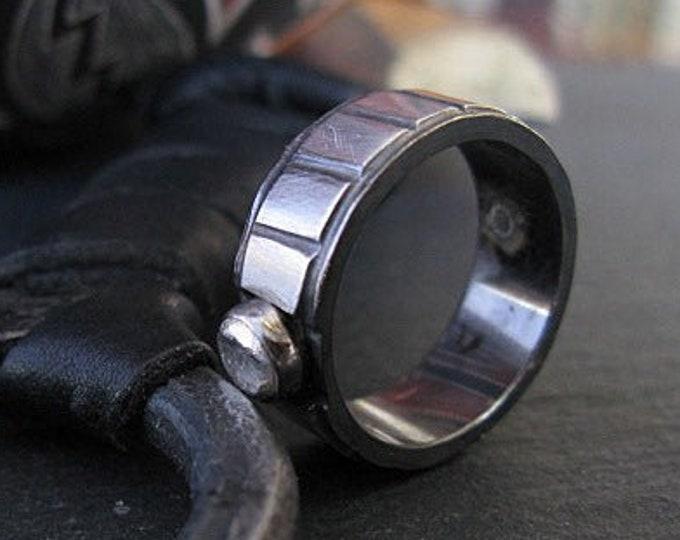 Mens Wedding Band 8mm Solid Sterling Silver Bezel Set Pebble