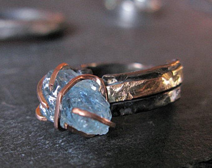 Caribbean Blue Aquamarine Ring Size 6 1/4