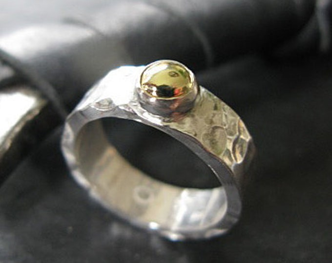 Alternative Engagement Ring - Hammered Sterling Silver with 18K Yellow Gold Pebble set in fine silver