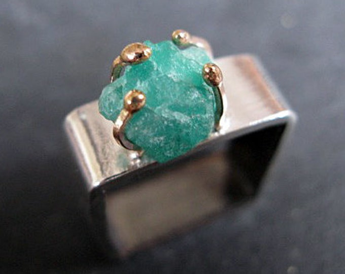 Rough Emerald Ring Size 9 Raw Emerald