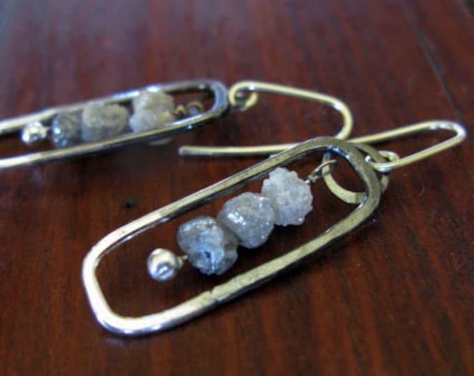 Raw Diamond Dangle Earrings