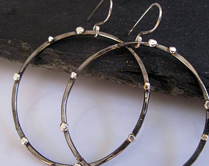 Sterling Silver Black Hoop Earrings