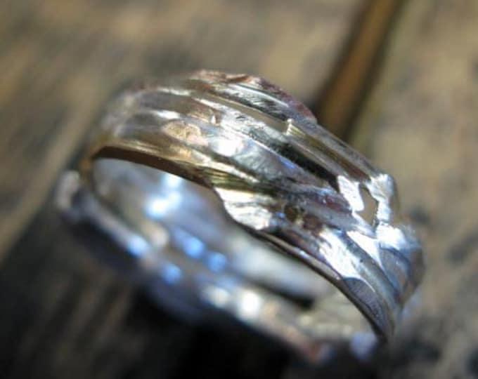 Distressed Gold Silver Viking Wedding Ring