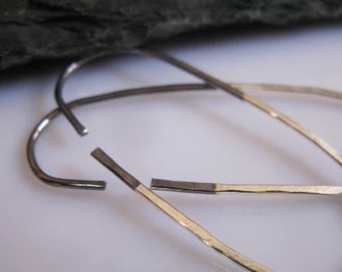 Black Silver Capsule Hoop Earrings Black Ombre Earrings Open Hoop Earrings Large Black Hoop Earring Silver Hoop Earrings Boho Earrings Oval
