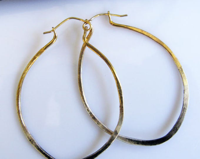 Sterling Silver 22K Gold Ombre Oval Hoop Earrings