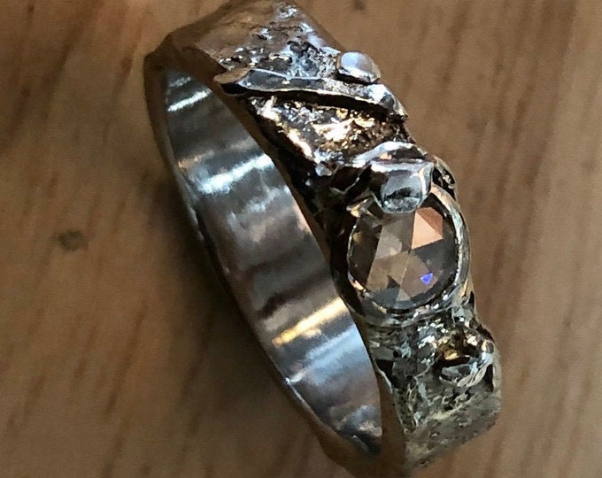 OOAK Rose Cut Diamond Ring Engagement Rustic Wedding Unique 5mm .20 carat VS GH
