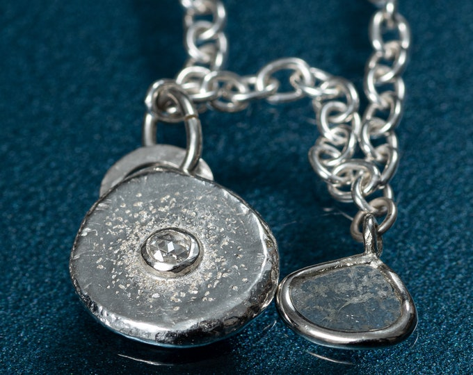 Genuine Diamond Charm Necklace with Diamond Slice