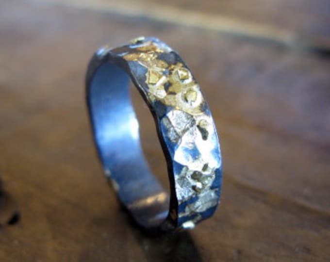 18K 14K Gold Sterling Silver Mixed Metal Ring