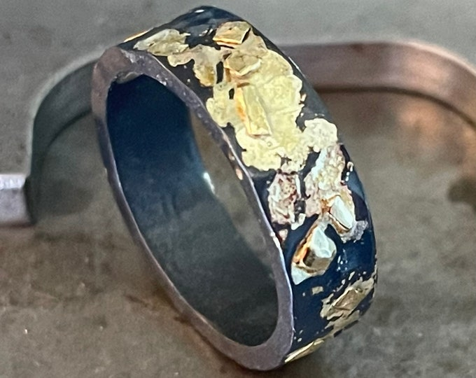 Mens Wedding Band 6mm Blackened Silver and Gold Ring