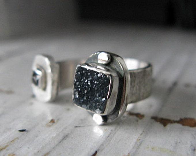 SALE Black Druzy Ring Size 6 1/2 Black Diamond Ring