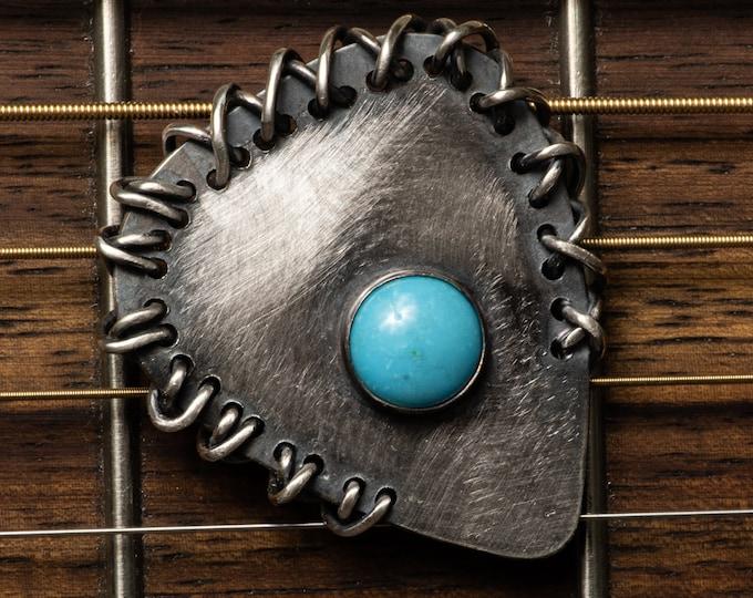 Turquoise Sterling Silver Guitar Pick Metal Pick Musician Gift unique guitar pick pendant ooak