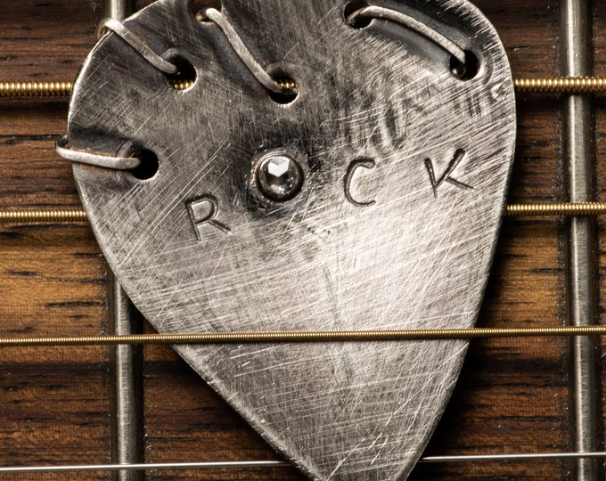 Diamond Guitar Pick Personalized Sterling Silver Custom Guitar Pick Customized Guitar Pick Handmade Genuine Diamond Musician Gift