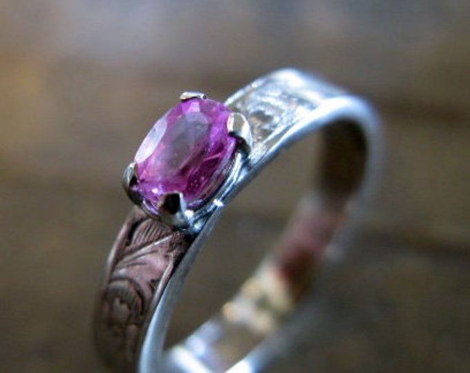 Size 8 Genuine Pink Sapphire Ring