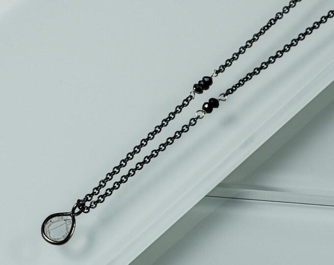 Genuine Diamond Slice Asymmetrical Necklace Black Diamond Beads Silver White Gold Black Rhodium Plating