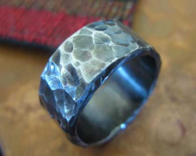 Hammered Sterling Silver 8mm Mens Wedding Band