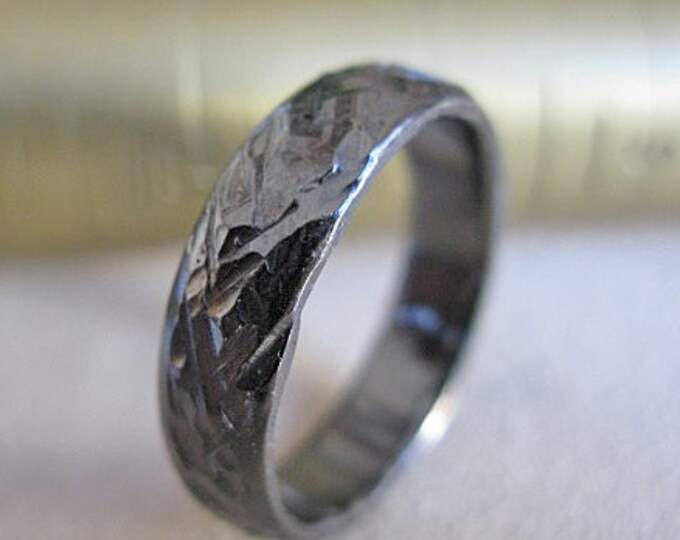 Black Rustic Oxidized Wedding Band 5mm Sterling Silver