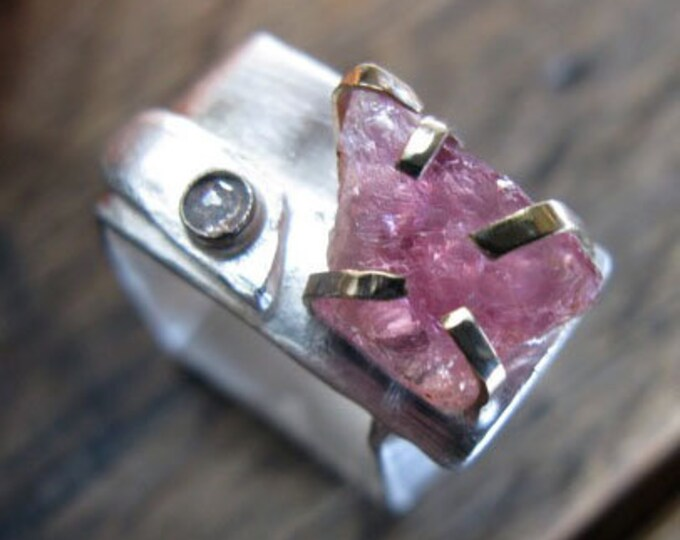 Raw Pink Tourmaline Ring with Rose Cut Diamond Size 7 - 8