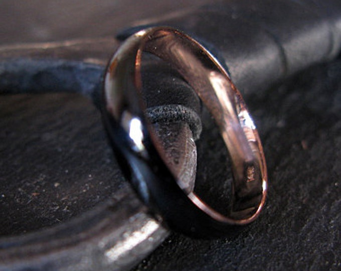 14k Rose Gold Ring 4mm Mens Wedding Band