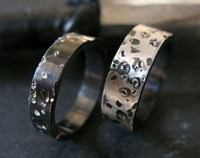 Starry Night Wedding Band Set 6mm 8mm Sterling Silver