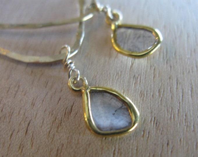 18K Gold Diamond Slice Earrings Freeform Hoop Earrings Solid Gold Diamond Earrings Salt and Pepper Diamond Gold Hoops