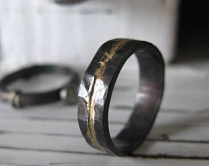 Mens Wedding Band 5mm Black and Gold Ring