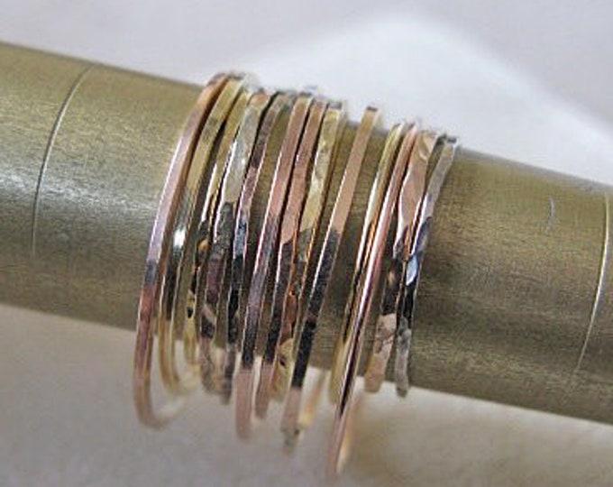 Skinny 14K Gold Ring Ladies Wedding Band Hammered Finish