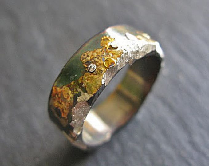 Moonscape Ring 8mm Sterling Silver 18K Yellow Gold