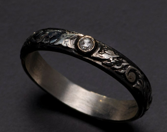 Sterling Silver Vintage Wedding Band 3.5mm wide with Genuine Diamond Rose Cut 2.2mm