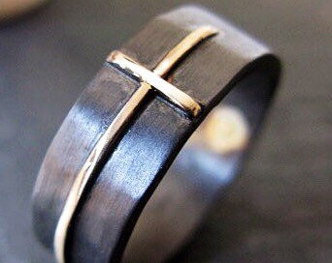 14K Gold Cross Ring 7-8mm Matte Finish