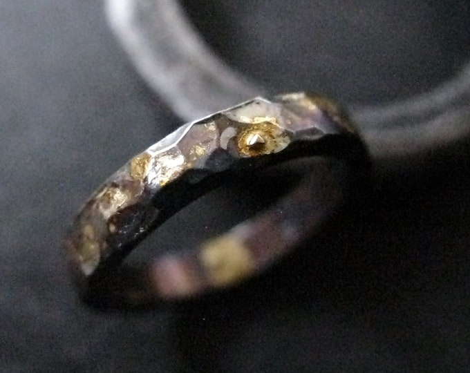 Black Gold Band 3MM Oxidized Sterling Silver 18K Gold Pieces Drops Hammered Finish