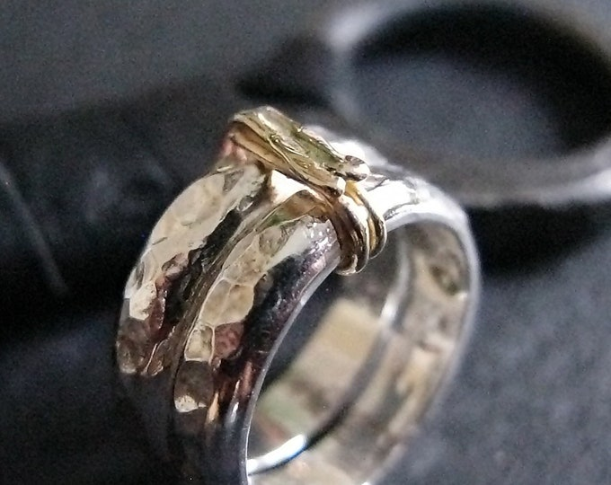 Double Silver Band with 14k Gold Size 8-1/2