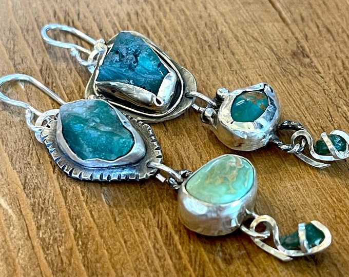 Rough Emerald and Green Turquoise Earrings