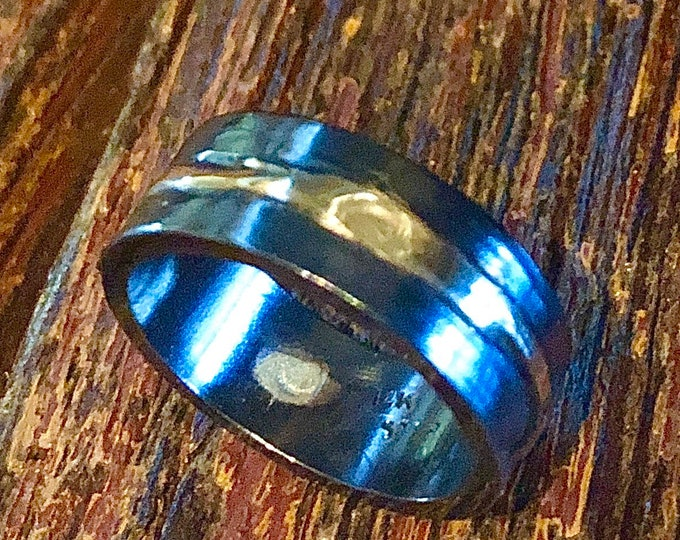 Mens Wedding Band 8mm Oxidized Silver and Gold