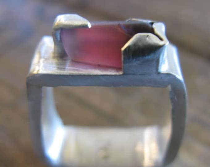 Raw Pink Tourmaline Ring Square Shank